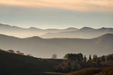 Sunrise in the Valley of the Blue Ridge Mountains