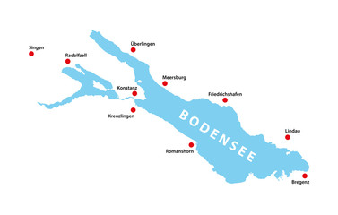 Bodensee Lake Constance Germany Shape Map Very Detailed