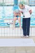 child portrait on swimming pool
