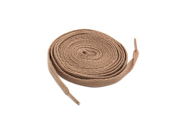 Brown shoelace fashion on a white background