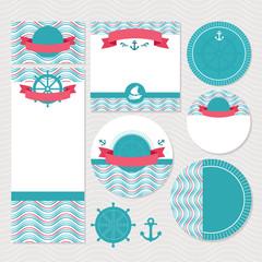 Set of marine wedding cards
