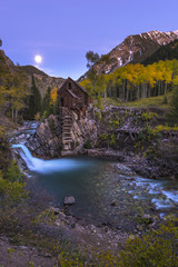 Moon rise over the Crystal Mill Colorado Landscape