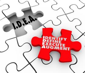 Idea Identify Define Execute Augment Acronym Puzzle Piece Solve