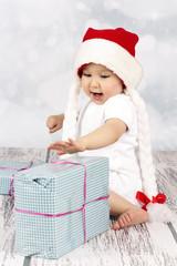 Little Santa's helper with christmas presents