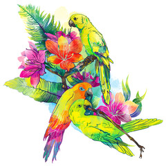 yellow parrots and exotic flowers