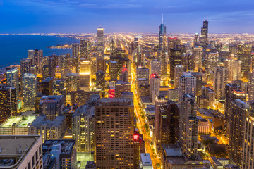Aerial view of Chicago downtown skyline at night.