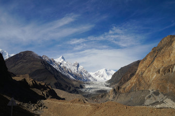 Pasu Glacier and beautiful sky in Northern Pakistan