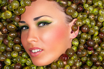fashion beautiful female face in gooseberry