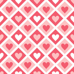 Seamless pattern of hearts and geometrical shapes