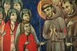Leinwandbild Motiv Tafelbild der hl. Klara in Santa Chiara, Assisi, Italien