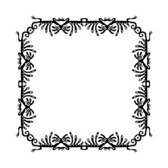 Black frame, design element with dragons, vector