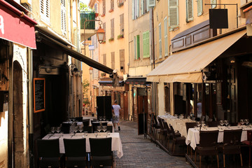 Café on a narrow street in Cannes