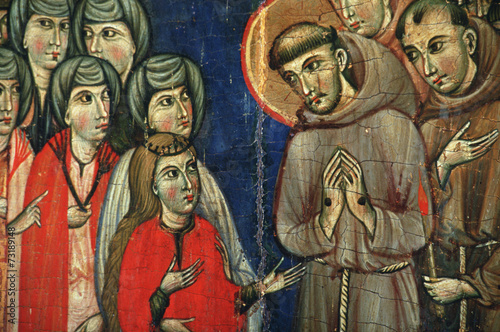 Tafelbild der hl. Klara in Santa Chiara, Assisi, Italien - 73189148