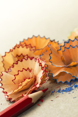 Pencil Shavings.Pencil and Colorful Shavings on Desk.