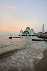 Strait mosque during sunset