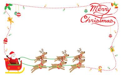 Santa, Reindeers, Border & Background