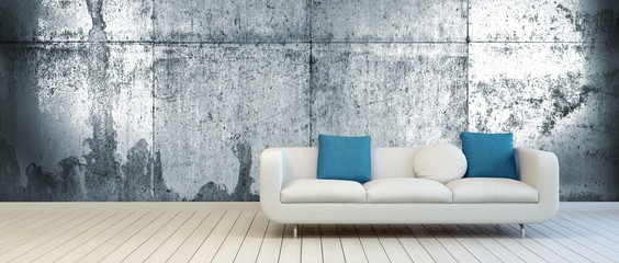 White Couch on Empty Room with Vintage Metal Wall