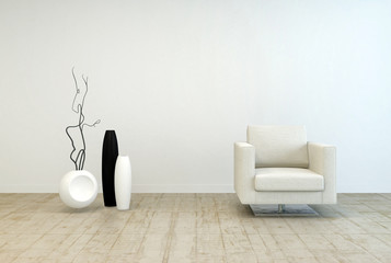 White Chair and Vase Decors at Living Room