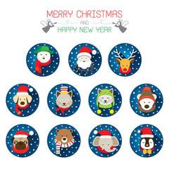 Flat Icons Set: : Christmas, Santa & Animals
