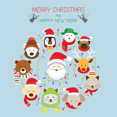 Christmas : Santa & Animals