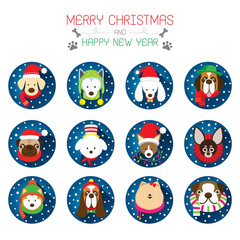 Flat Icons Set: : Christmas, Various Dog Breeds