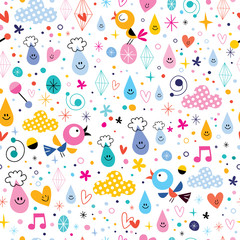 birds rain drops hearts fun characters cartoon seamless pattern