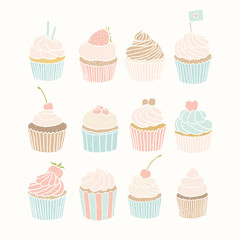 Set of 12 cupcakes.