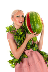sensual woman with watermelon, isolated on white background