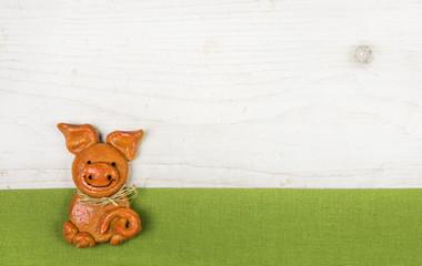Glückliches Schwein als Glückwunschkarte zum Geburtstag