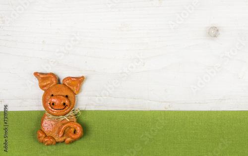 canvas print picture Glückliches Schwein als Glückwunschkarte zum Geburtstag