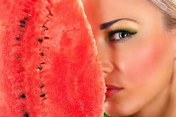 beauty makeup face with watermelon