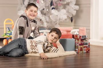 boys with Christmas gifts