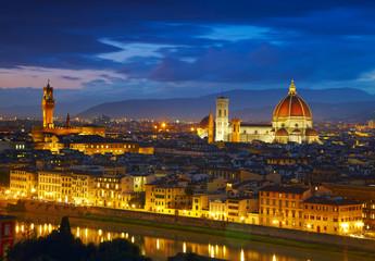 Night view to Palazzo Vecchio and Cathedral of Santa Maria del F