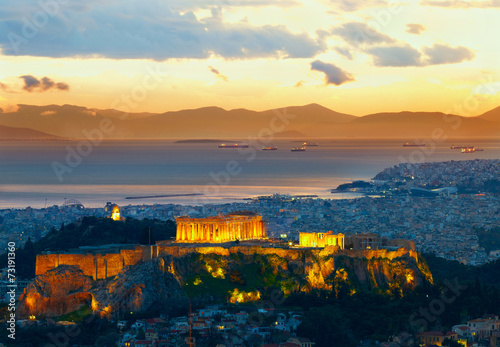 Staande foto Athene Athens, Greece. After sunset. Parthenon and Herodium constructio