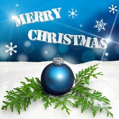 Christmas background - Christmas Ornament blue - Snow