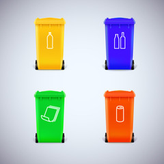 Recycle bins with the symbols.