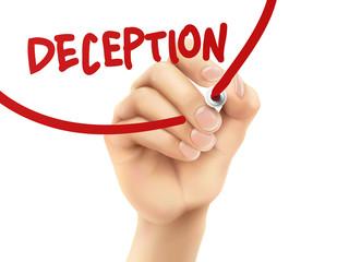 deception word written by hand