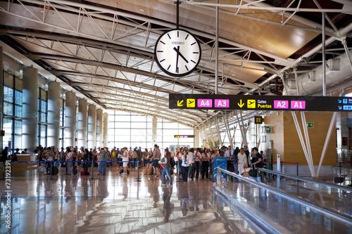Interior of Madrid airport, departure waiting aria - 73192391