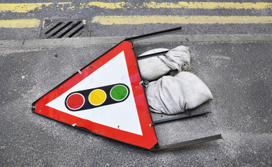 Warning sign on the road in England