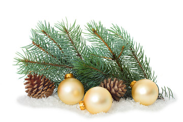 Christmas ornaments on Christmas tree with baubles