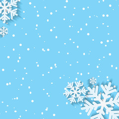 Background for Christmas and New Year with snowflakes