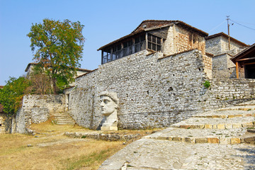 Alley inside the old fort Berat, Albania. UNESCO World Heritage