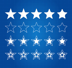 Five Star Quality Award Icons On Blueprint