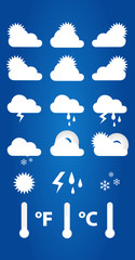 Weather Icons On Blueprint Background