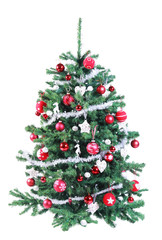 Colorful decorated red and silver Christmas tree