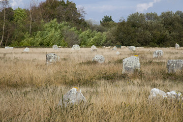 Intriguing standing stones at Carnac in Brittany, France