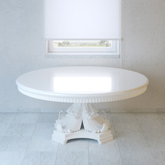 Minimalist room with white baroque style table and window