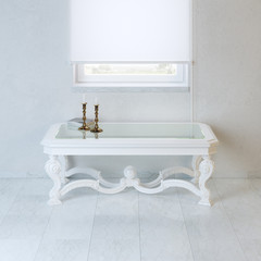 White empty room with baroque style coffee table and candelabra