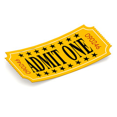 Admit one ticket on white background