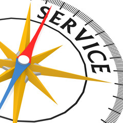 Compass with service word